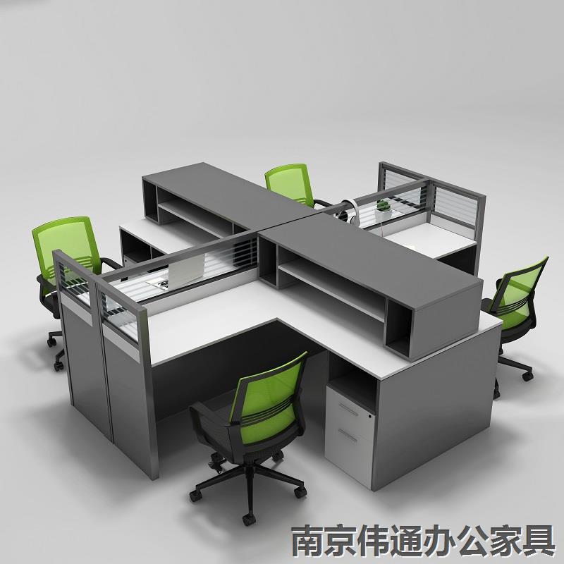办公桌组合办公家具屏风工作位卡座简约现代职员办公桌椅电脑桌椅财务桌四人位员工桌 (1.5米)单人位左高柜